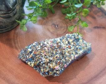 Titanium Aura Amethyst Crystal Druzy - Rainbow Aura Amethyst - Crystal Healing, Reiki, and Crystal Grids