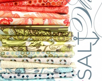 OOP Tula Pink - Salt Water 21 FQ bundle- almost the complete line (free spirit fabric)