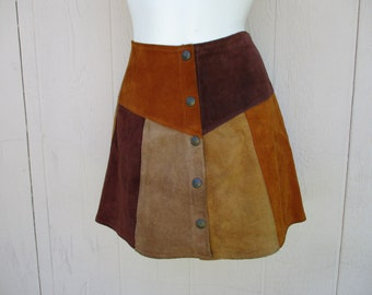 60's Ladies 'Patchwork Style' Snap Up, Leather Mini Skirt