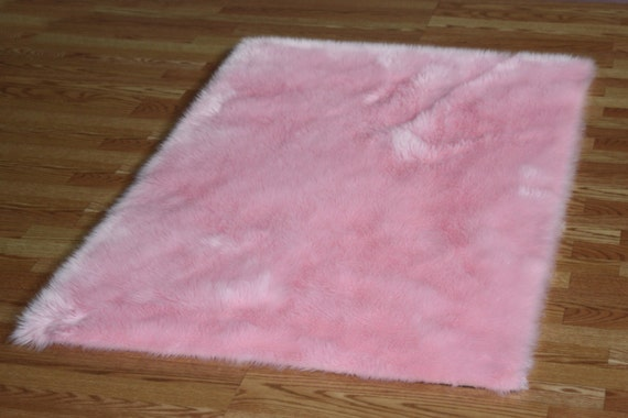 4 X 6 Baby Pink Faux Fur Rug Non Slip Washable Great Etsy