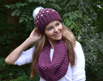 4c3fd6b467c KNITTING PATTERN Classic Seed Stitch Snood Cowl Scarf Hand Knitted Women s  Oversized Boho Style Scarf Snood Neck Warmer