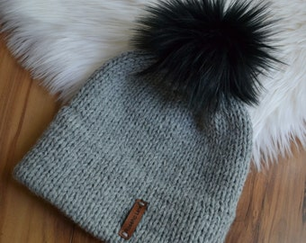 DIY Knitting Kit The Double Brim Beanie Faux Fur Pom Pom Women/'s Hat Cap Toque Hand Knitted Seamless Soft Wool Blend Black Ivory