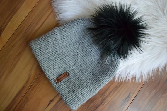 aa910dbf1 DIY KNITTING PATTERN The Double Brim Beanie Faux Fur Pom Pom Unisex Boho  Timeless Wool Beanie Hat Cap Toque