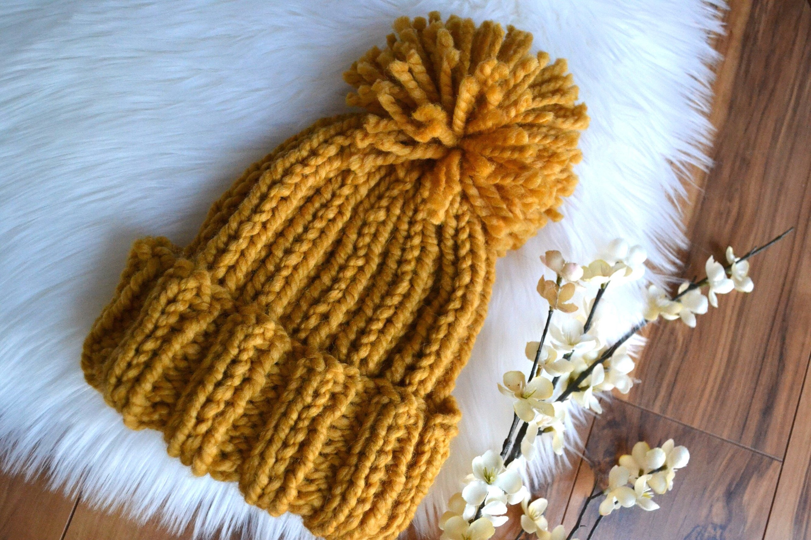 The Simple Fold Over Beanie Hat Toque Big Floppy Pom Pom Boho  515617fc53f