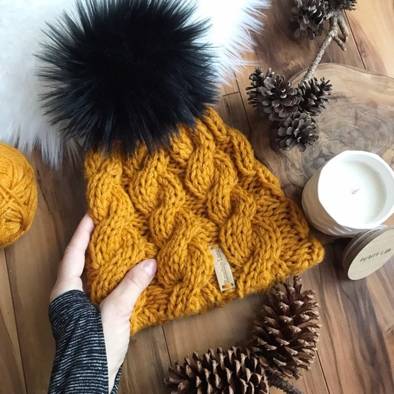 0fe94044f KNITTING PATTERN DIY The Golden Double Brim Cabled Beanie Faux Fur Pom Pom  Beanie Hat Cap Toque