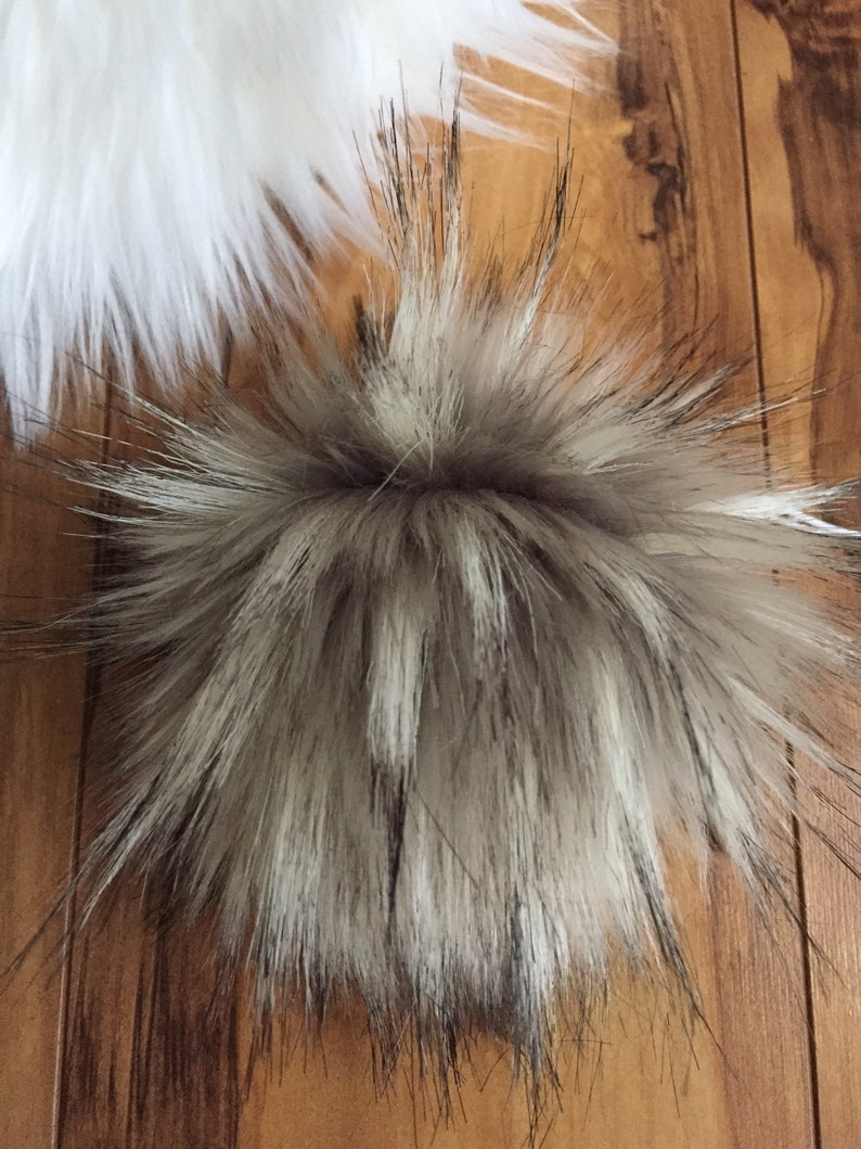 a2a54c4dd003e NEW Handmade Faux Fur Pom Pom Large Timber Wolf Gray Beige