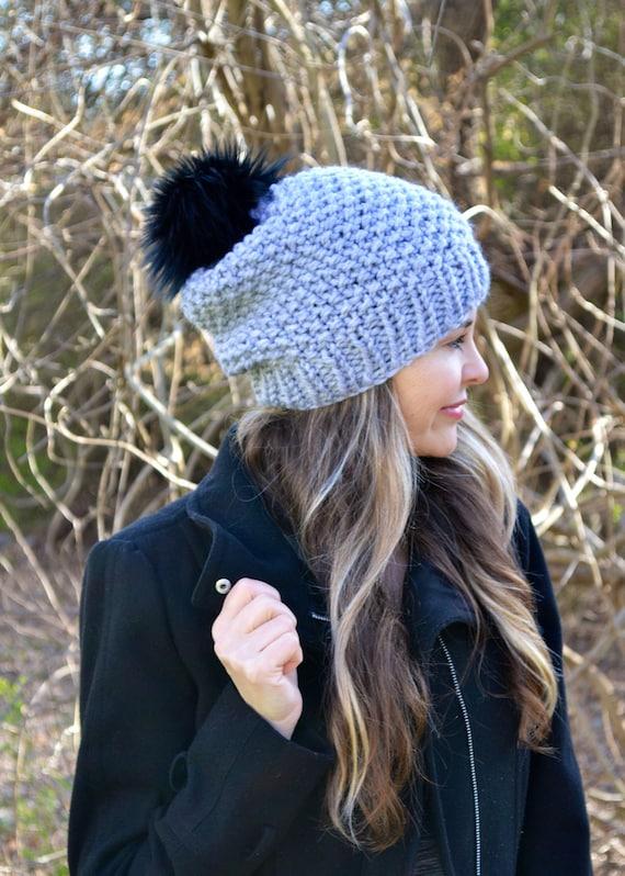 c1f863c25d6 Slouchy Beanie Toque Cap Hat Oversized Faux Fur Pom Pom Hand