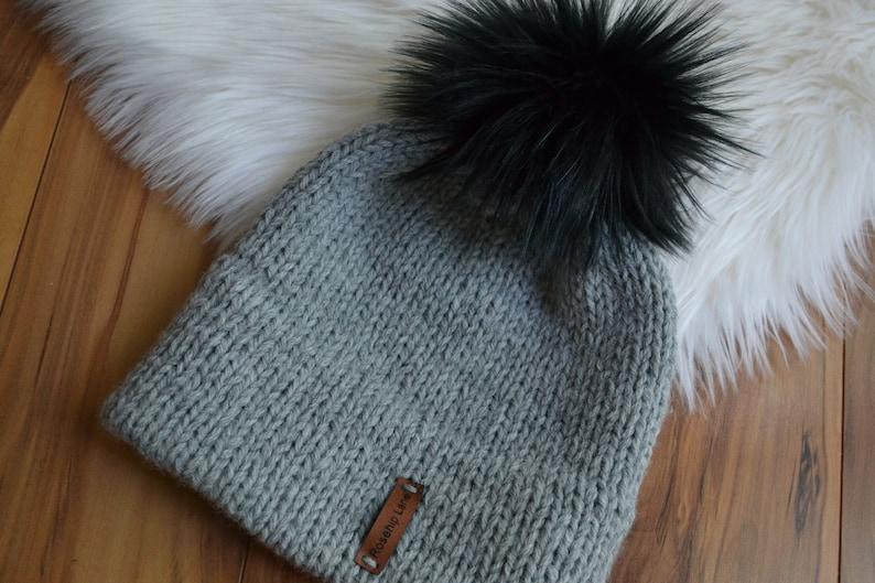 0d2289753b7 DIY Knitting Kit The Double Brim Beanie Faux Fur Pom Pom