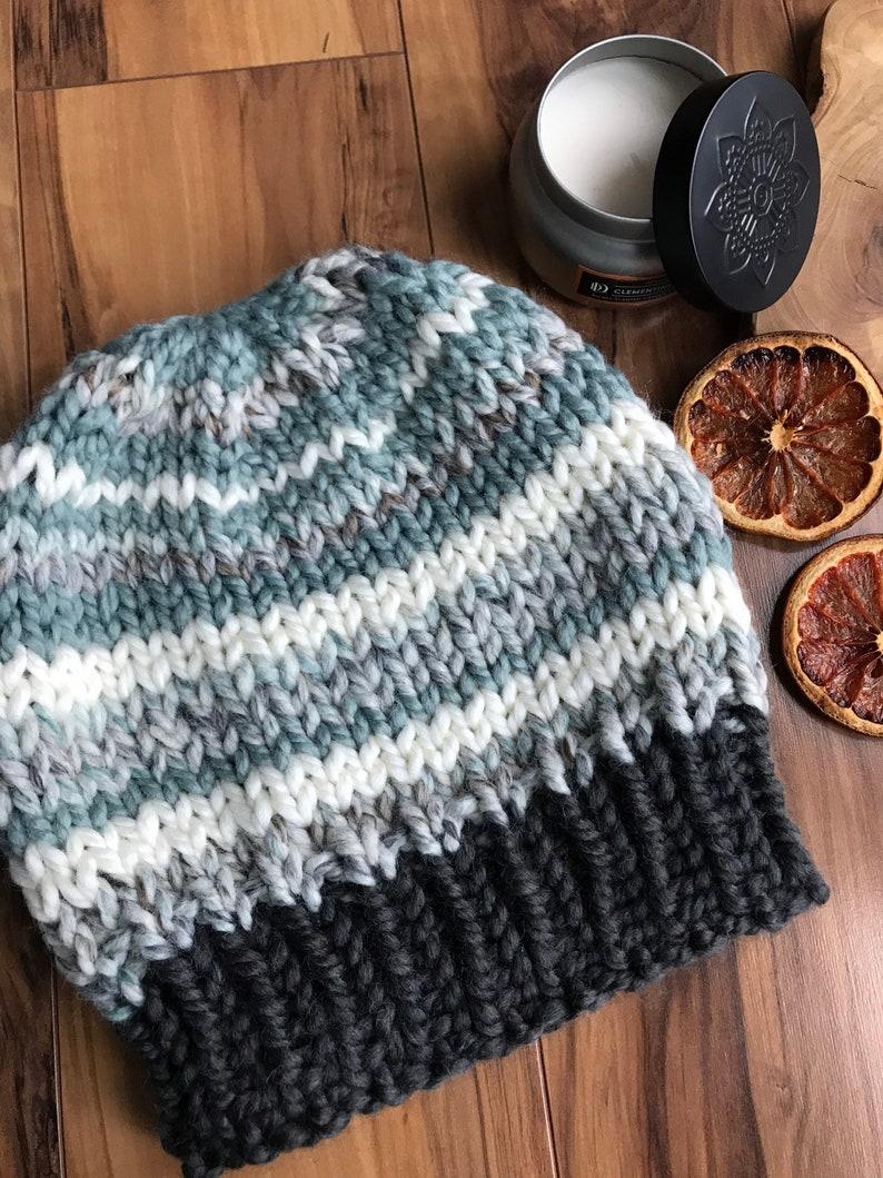 Striped Medium size Women\u2019s Knit hat Unisex Warm Winter Beanie Knit Beanie Hat Women\u2019s warm toboggan Stripe Hand Knitted PomPom Toque