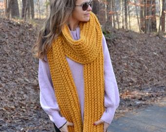 Crochet Pattern Luxury Mustard Scarf, Women's Crochet Scarf, Chunky Oversized Scarf, Warm Scarf, Ribbed Scarf , Oversized scarf