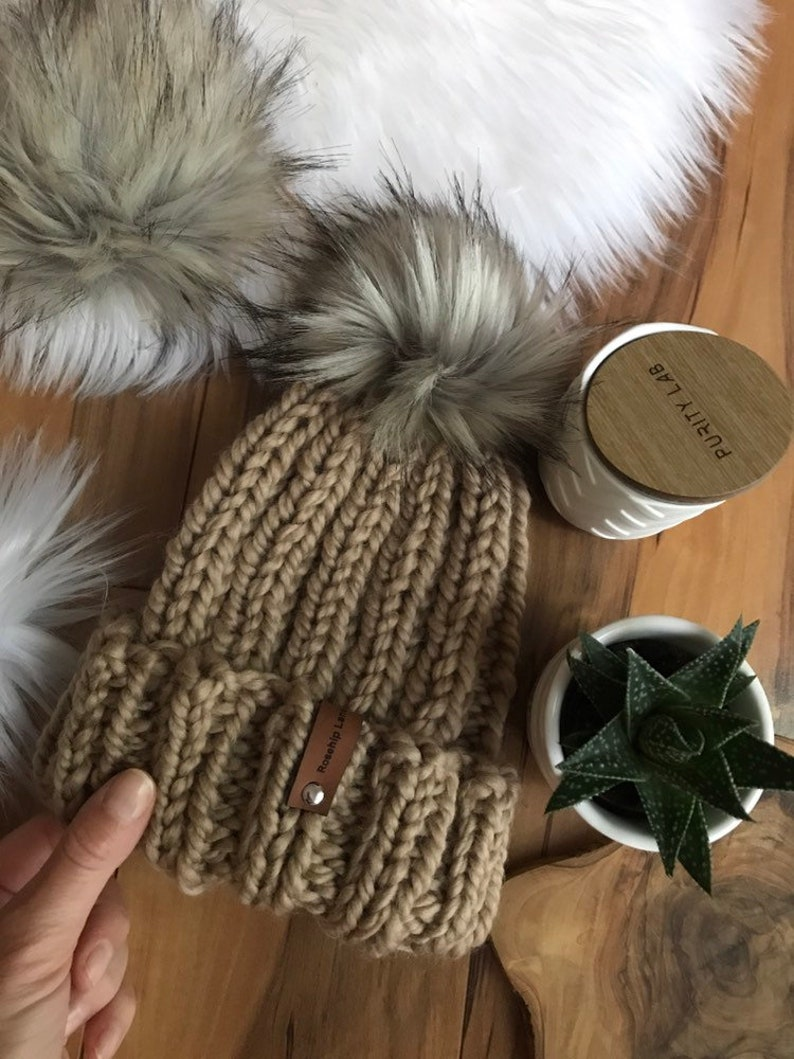 KNITTING PATTERN DIY The Simple Fold Over Beanie Hat Toque ...