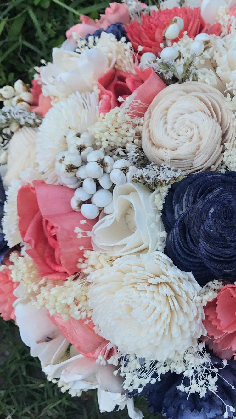 Diy sola bouquet kit coral blue sola flower bouquet etsy zoom izmirmasajfo