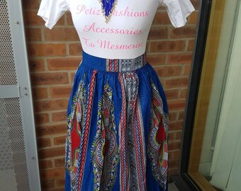 Long Blue Dashiki Print Skirt