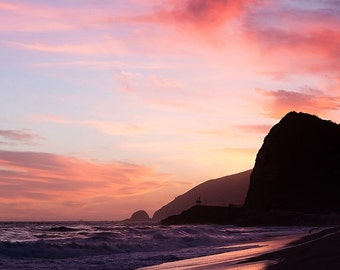 Pink Sunset, Beach photography, Fine Art photography print, beach decor, Pt. Mugu, Malibu, California, landscape, beach wall art