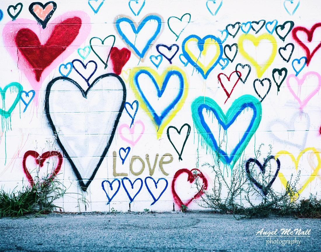 Love wall art kids room urban decor street photography graffiti colorful dorm heart decor los angeles fine art photography print