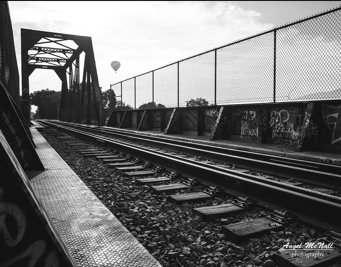 Black and white urban decor fine art photography graffiti railroad tracks old bridge hot air balloon