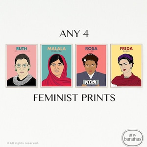 Set of Any 12 Feminist Icon Prints Feminist Minimalist Wall Art DISCOUNTED