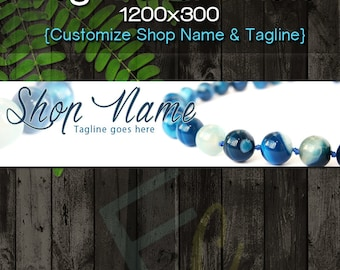 Size 1200x160 Etsy Shop Banner and Matching Avatar Premade Jewelry Beads Turquoise Beads Customize Shop Name and Tagline