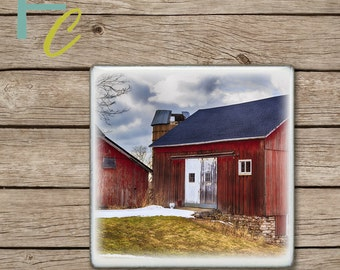 Drink Coaster, Old Red Barn Handmade Design, Ceramic Tiles, Housewarming Gift, Wedding Gift, Farm Home Decor, Country Scene