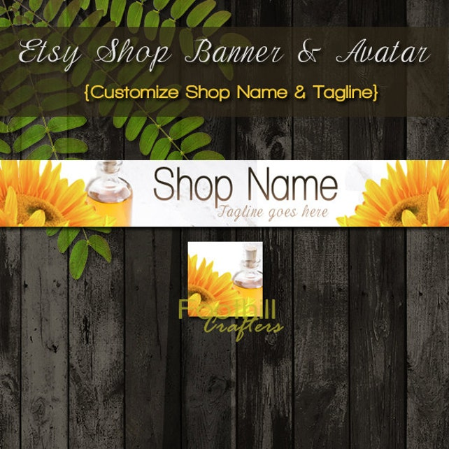 Etsy Shop Essential Oils Banner and Matching Avatar, Premade Sunflowers and oils, Customize Shop Name and Tagline, Natural Products, Bath