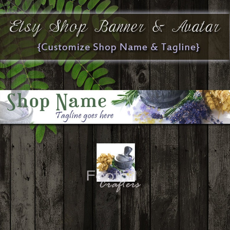 Etsy Shop Natural Products Banner and Matching Avatar, Premade Lavender  Salts Mortar, Customize Shop Name and Tagline, Herbal Medicine Idea