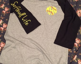 Softball Raglan Shirt - Softball Life Shirt - Softball Monogram Shirt - Softball Shirt - Softball Strong Shirt - Custom Softball Shirt