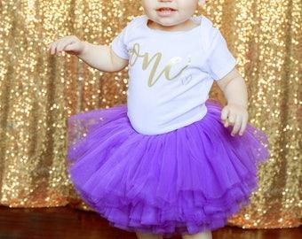 Girl 1st Birthday Outfit, Purple Gold Tutu Girl First Birthday Outfit, Birthday Shirt, Purple Birthday Tutu, Cake Smash Outfit Dress