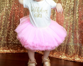 Baby Girl Birthday Outfit, First Birthday Girl Outfit Pink Gold, Birthday Shirt, Pink Birthday Tutu, Cake Smash Outfit