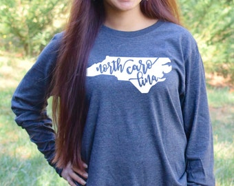 North Carolina Home Long Sleeve Tee Shirt.  Tshirt. Shirt. Gifts. State Shirt. Made 100% in USA