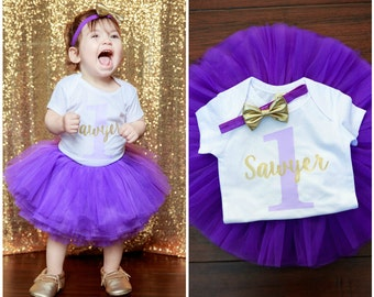 1st Birthday Girl Outfit, Personalized Girl First Birthday Outfit, Personalized Birthday Shirt, Purple Birthday Tutu, Cake Smash Outfit