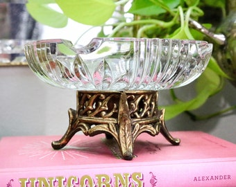 Vintage Round Glass Crystal and Ornate Gold Metal Footed Pedestal Base Ashtray - Hollywood Regency Glam Home Decor