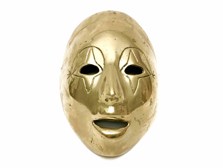 Vintage Brass Theater Drama Face Mask Masquerade Ball Mardi | Etsy