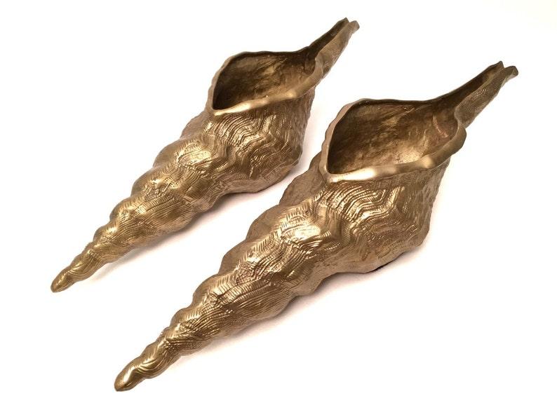 17 Gold Metal Textured Nautical Beach Home Interior Decor Beach Wedding Decor Vintage Brass Shell Planters