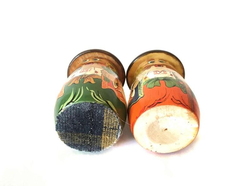 Vintage Pair of Painted Wood Salt and Pepper Shakers Set Farmer and Baker Salt Pepper Men