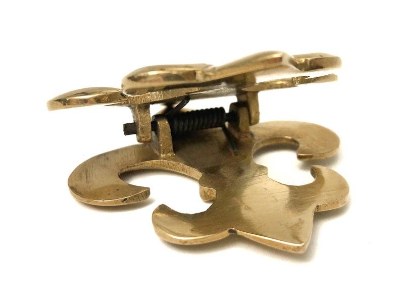 Vintage Brass Fleur-De-Lis Clip Brass Office Desk Decor Paperweight Gold Metal Paper Clip