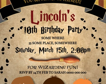 Harry Potter Inspired Invitation Wizard Party Birthday Fan Art Print At Home Digital File