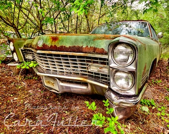Photograph of a Green 1967 Cadillac in the Woods