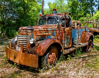 Photograph of a 1939 GMC Tow Truck (Wrecker) in the Woods