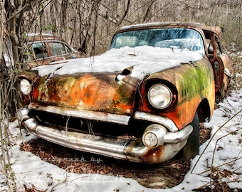Photograph of the 1957 Chevy in the Snowy Woods