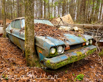 Photograph of a 1974 Mercury Capri in the Woods