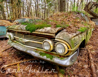 Photograph of a moss covered 1960 Chevy Impala Sports Coupe in the Woods