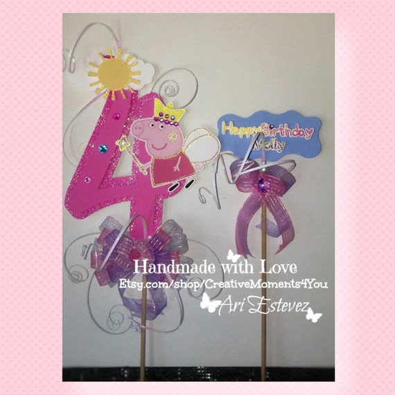 Pleasing Fairy Peppa Pig Birthday Cake Topper Picks Etsy Funny Birthday Cards Online Overcheapnameinfo