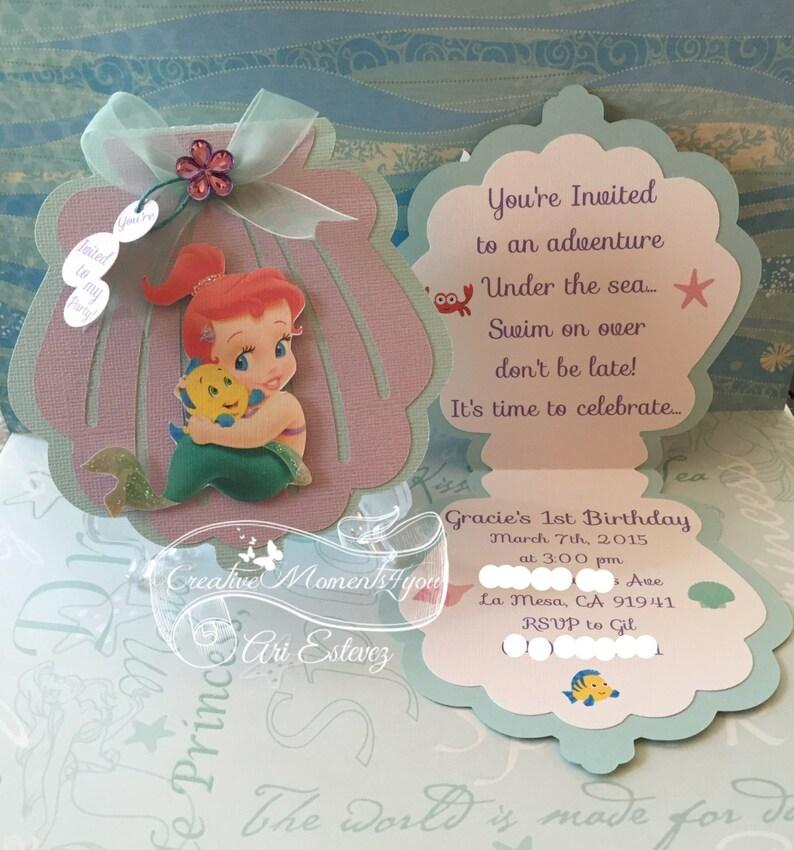 Disney Baby Ariel Seashell Invitation