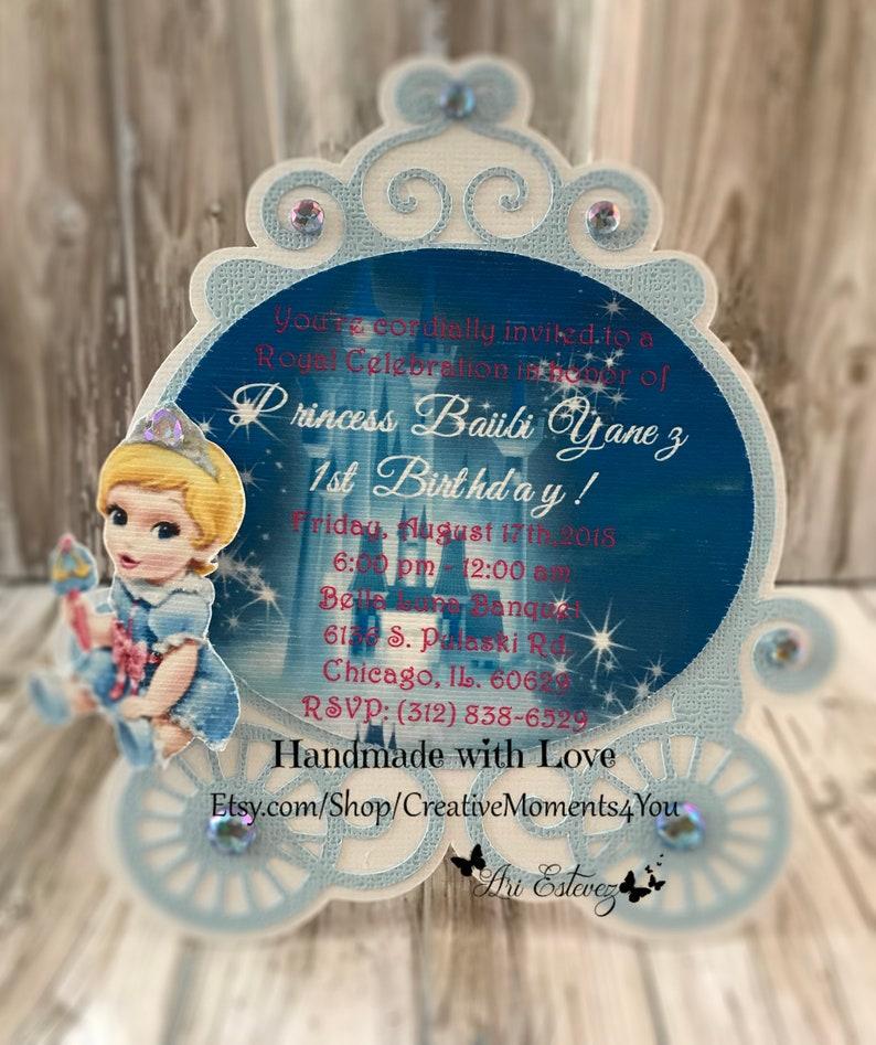 Disney Baby Cinderella Carriage Birthday Invitation