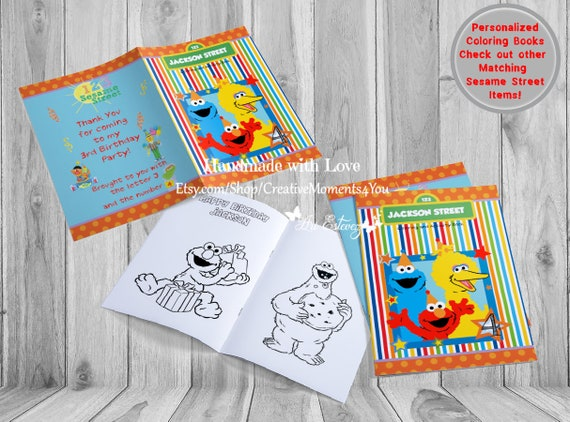 Sesame Street Elmo Personalized Coloring Book With Crayons Sesame Street Activity Book Sesame Street Party Favor Custom Coloring Book