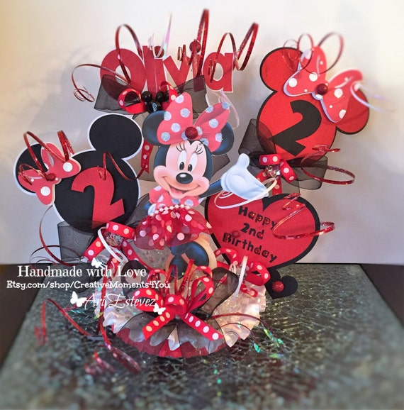 Pleasant Minnie Mouse Red Birthday Cake Topper Personalized Etsy Funny Birthday Cards Online Overcheapnameinfo