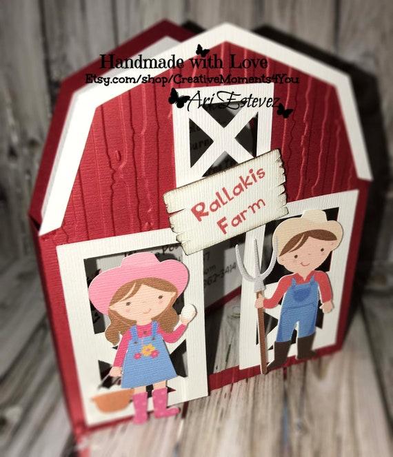 Little Farmers Invitation /Red Barn/ Barnyard with Little Girl and Boy  Farmer/ Farmer Boy / Farmer Girl / Twin Farmers