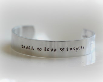 Personalized Teacher's Cuff Bracelet