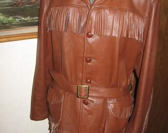 Deerskin Leather Jacket Large Belted Brown Men's size 42 Awesome LIke New with spare button