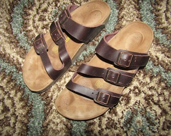 Birkenstock ~ Orlando ~ Sandals ~ Brown Leather ~ Suede Footbed ~ Unisex ~ 42 Narrow Footbed ~ Women's Size 11 Narrow